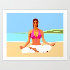 Yoga on the Beach Art Print