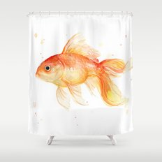 Goldfish Painting Watercolor Fish Shower Curtain