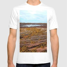 Textured Shoreline SMALL Mens Fitted Tee White