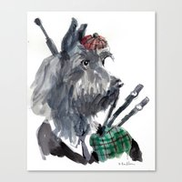 Canvas Print featuring Bagpiping Scottie by Becca Kallem
