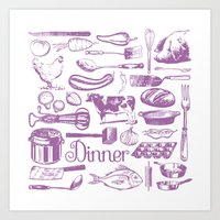 Retro Dinner - White Art Print