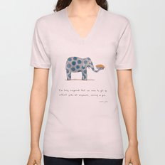polka dot elephants serving us pie Unisex V-Neck