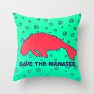 Throw Pillow featuring Save The Manatee by Bunhugger Design