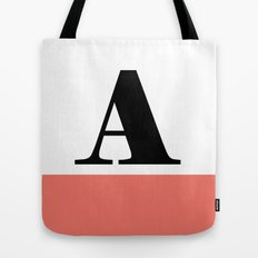Monogram Letter A-Pantone-Peach Echo Tote Bag