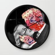 Wall Clock featuring Bloomy Kiss by Eugenia Loli