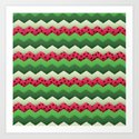 Watermelon Chevron Art Print