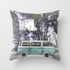 Vintage van. Green Throw Pillow