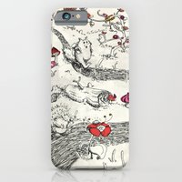 iPhone & iPod Case featuring Small animals of wood and bucolic flowers by Lorène Russo illustration