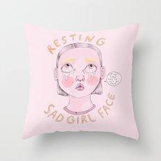 Resting Sad Girl Face Throw Pillow