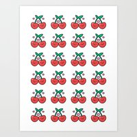 Cherry Pattern Art Print