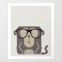 Hipster Monkey Art Print Art Print