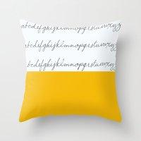 Alphabet-Yellow Throw Pillow