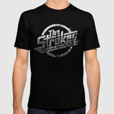 The Strokes Logo New York Black And White SMALL Black Mens Fitted Tee