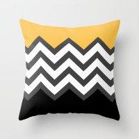 Color Blocked Chevron 6 Throw Pillow