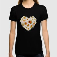Daisy heart Womens Fitted Tee Black SMALL