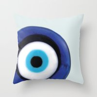 Throw Pillow featuring Evil Eye by SalbyN