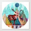 Wonder Wood Dream Mountains - Red Deer Dream Illusion 3 Canvas Print