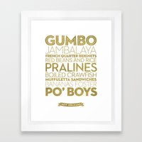 New Orleans — Delicious City Prints Framed Art Print