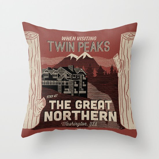 the Great Northern Hotel (Faux Canvas - rust) Throw Pillow
