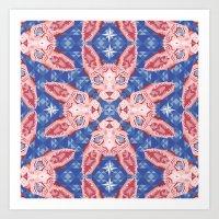 Sphynx Cat - Rose Quartz… Art Print