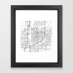 Sioux Falls Map, USA - Black and White Framed Art Print
