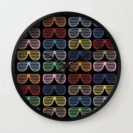 Rainbow Shutter Shades at Night Wall Clock