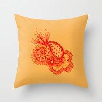 Red Arabesque Throw Pillow