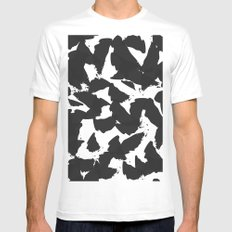 Black Bird Wings on White Mens Fitted Tee White SMALL