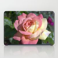 Pretty pink rose garden flower. Floral nature photography.   iPad Case