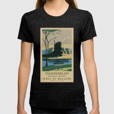 Thunder Bluff Classic Rail Poster Womens Fitted Tee Tri-Black SMALL