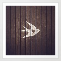 Vintage White Love Heart Bird Wood Panels Stripes Art Print