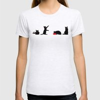 Cats Black on White Womens Fitted Tee Ash Grey SMALL