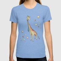 Giraffe Womens Fitted Tee Tri-Blue SMALL