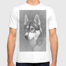 Siberian Husky SMALL Mens Fitted Tee White