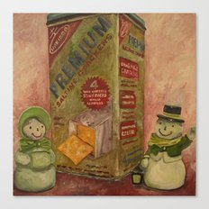 Snowmen and Crackers Canvas Print