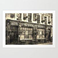 The Sherlock Holmes pub Vintage Art Print