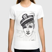 Marlene Dietrich Womens Fitted Tee White SMALL