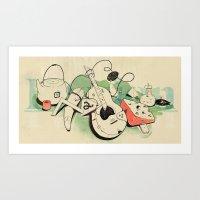 Music, tea & Cheese Art Print
