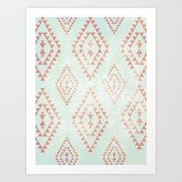mint & coral tribal pattern Art Print