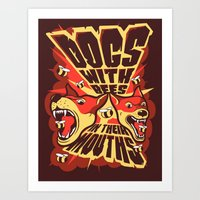 Dogs With Bees in Their Mouths Art Print