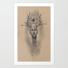 Graphite Antler Drawing Art Print