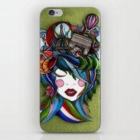 iPhone & iPod Skin featuring Paris girl in green by Lera Razvodova