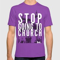 Stop Going To Church...B… Mens Fitted Tee Ultraviolet SMALL