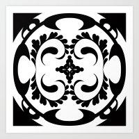 Black white tribal pattern Art Print