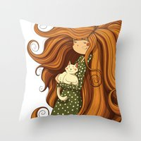 Girl and white cat Throw Pillow