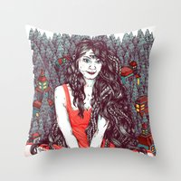 Three Eyed Girl Throw Pillow