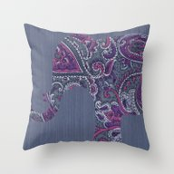 Throw Pillow featuring Paisley Elephant by Elephant Trunk Studi…