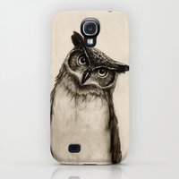 Galaxy S4 Cases featuring Owl Sketch by Isaiah K. Stephens