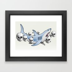 Shark & Skulls Framed Art Print