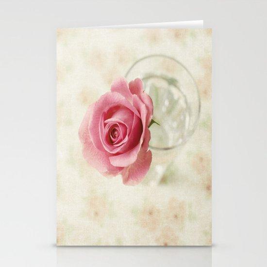 Vintage Textured Rose  Stationery Card